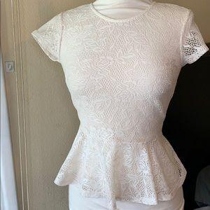 White lace peplum shirt